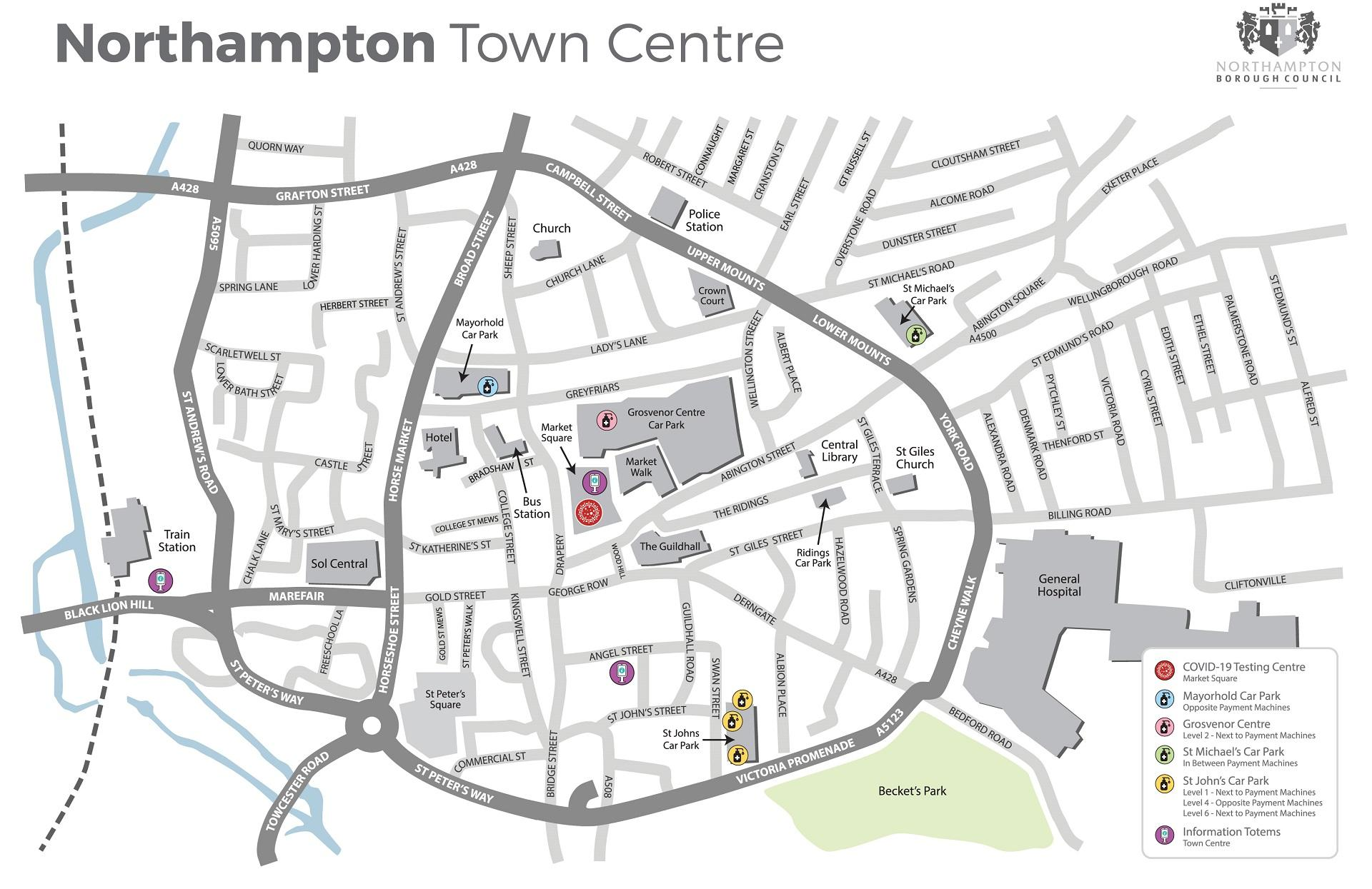 Northampton town centre map 1920
